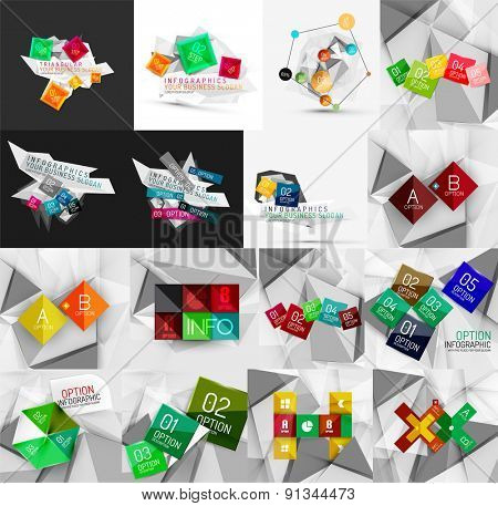 Set of light, paper design option infographic banner templates. Various universal geometric shapes with sample text, steps, connections