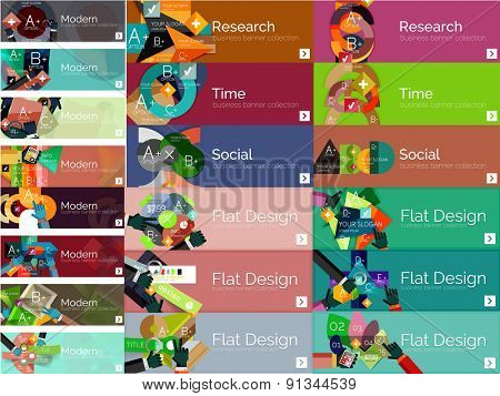 Mega collection of vector flat web infographic concepts and banners, various universal set