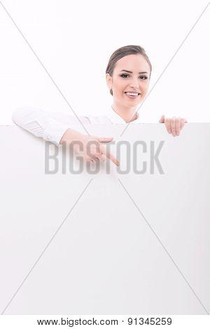 Beautiful lady making advertisement