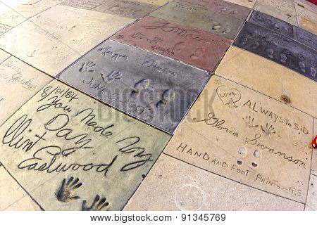 Handprints Of Clint Eastwood In Hollywood Boulevard In The Concrete Of Chinese Theatre's Forecourt