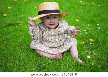 Beautiful Baby Girl With Sun Hat