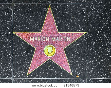 Marion Martins Star On Hollywood Walk Of Fame