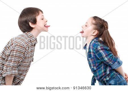Small girl having fun with brother