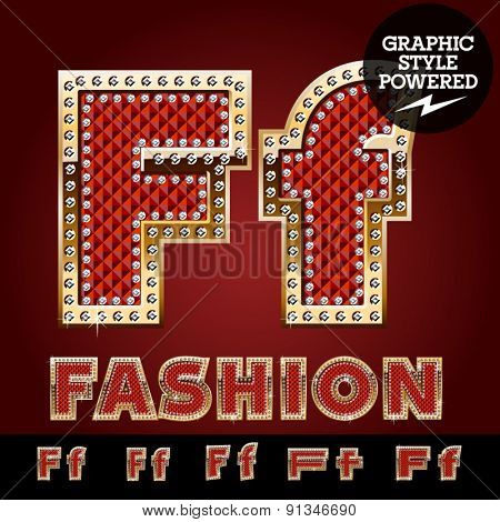 Vector luxury chic alphabet of gold and ruby letters, symbols and numbers with diamonds. File contains graphic styles available in Illustrator. Letter F