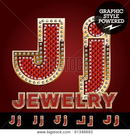 Vector luxury chic alphabet of gold and ruby letters, symbols and numbers with diamonds. File contains graphic styles available in Illustrator. Letter J