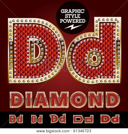 Vector luxury chic alphabet of gold and ruby letters, symbols and numbers with diamonds. File contains graphic styles available in Illustrator. Letter D