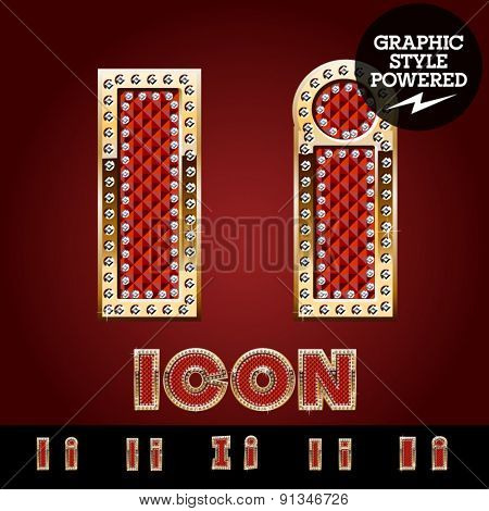 Vector luxury chic alphabet of gold and ruby letters, symbols and numbers with diamonds. File contains graphic styles available in Illustrator. Letter I