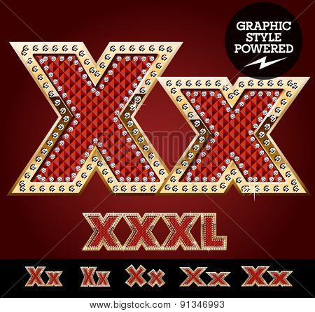 Vector luxury chic alphabet of gold and ruby letters, symbols and numbers with diamonds. File contains graphic styles available in Illustrator. Letter X