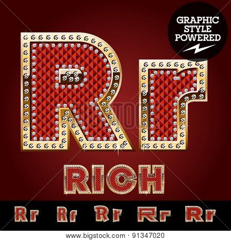 Vector luxury chic alphabet of gold and ruby letters, symbols and numbers with diamonds. File contains graphic styles available in Illustrator. Letter R