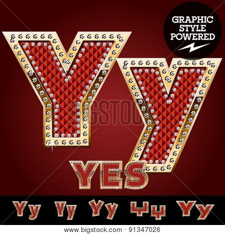 Vector luxury chic alphabet of gold and ruby letters, symbols and numbers with diamonds. File contains graphic styles available in Illustrator. Letter Y