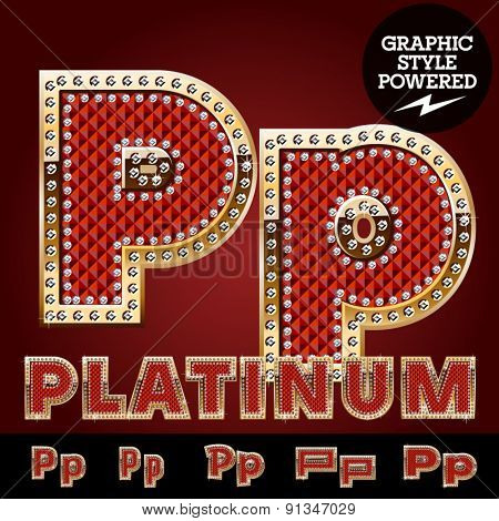 Vector luxury chic alphabet of gold and ruby letters, symbols and numbers with diamonds. File contains graphic styles available in Illustrator. Letter P