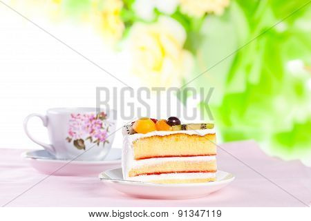 Fruit Cake With A Cup Of Coffee