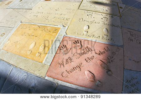 Handprints Of Will Smith And Peter O Toole In Hollywood Boulevard In The Concrete Of Chinese Theatre