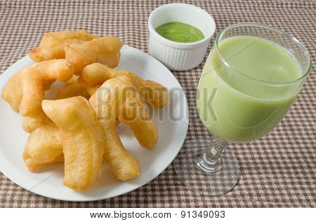 Deep Fried Doughstick With Custard Cream And Soybean Milk