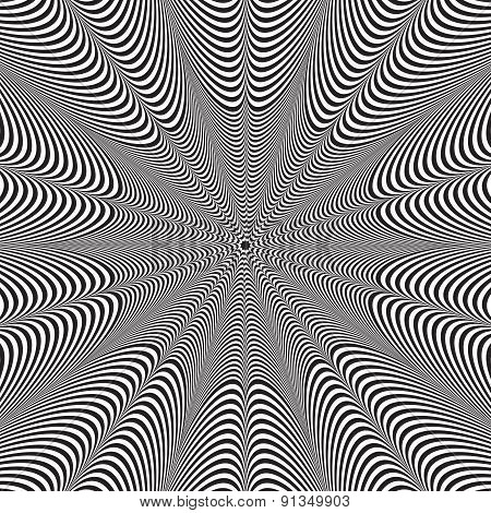 Abstract vector black and white striped background. Optical illusion