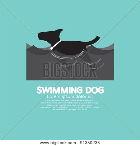 Swimming Dog In The Wave.