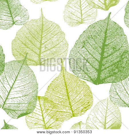 Decorative ornamental seamless floral pattern. Endless elegant texture with leaves.