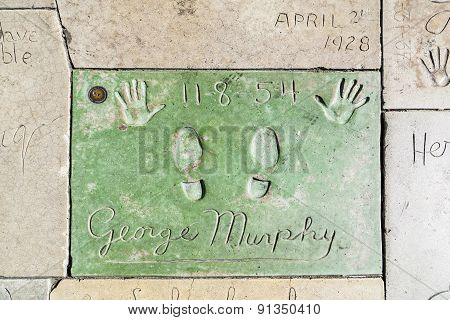 George Murphys Handprints In Hollywood Boulevard In The Concrete Of Chinese Theatre's Forecourt