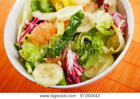 Salad With Lettuce, Cucumbers And Grapefruit