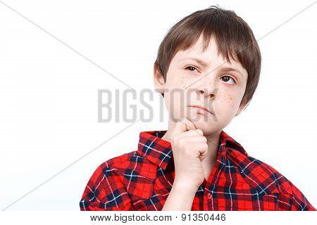 Portrait of a small emotional boy