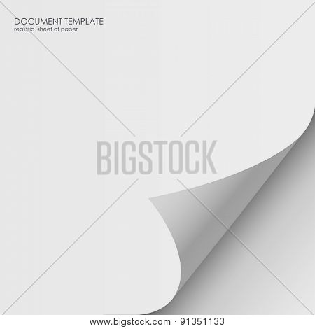 Realistic sheet of paper. Document template, layout sticker