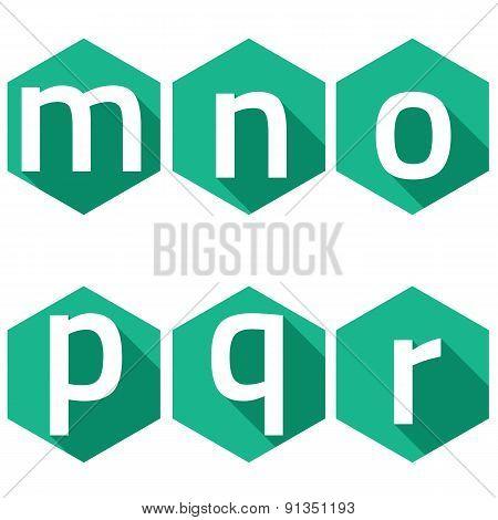 White Alphabets On Green Hexagon Background.