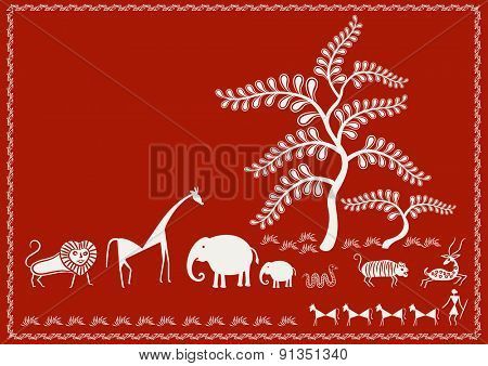 'Animals and Trees' Ancient Indian Art - WARLI