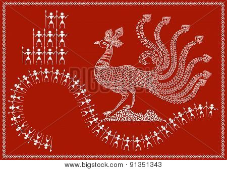 ' Peacock ' Ancient Indian Art - WARLI