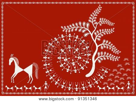 ' Wall Decoration' Ancient Indian Art - WARLI