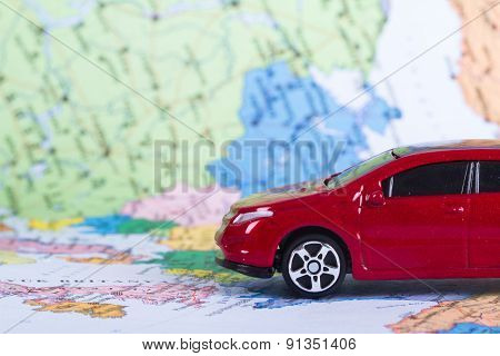 Red Toy Car For Travel Concept