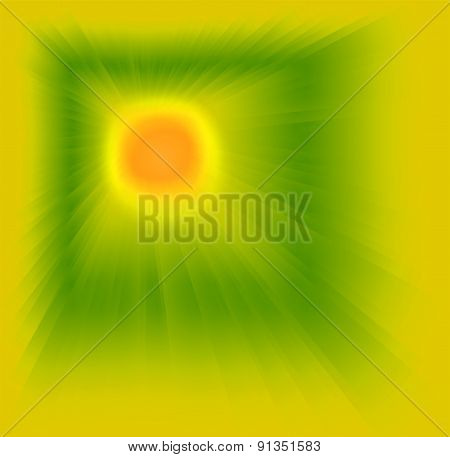 Abstract yellow green background with sun light rays
