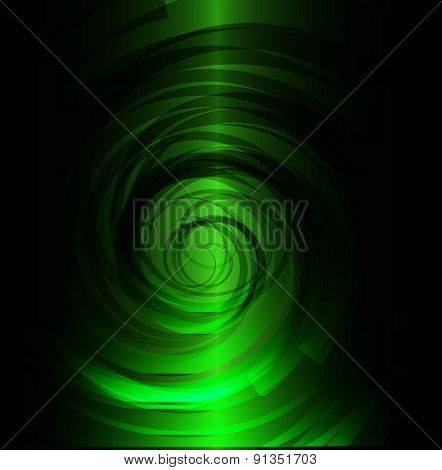 Green and black spiral background design template
