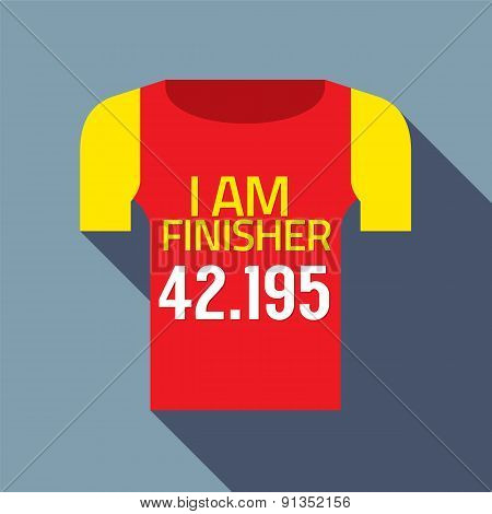 Finisher Tee Of Marathon Runner.