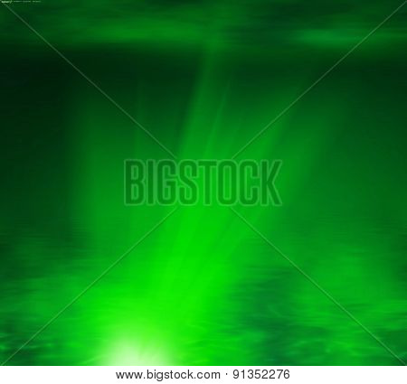 Abstract green rays light background