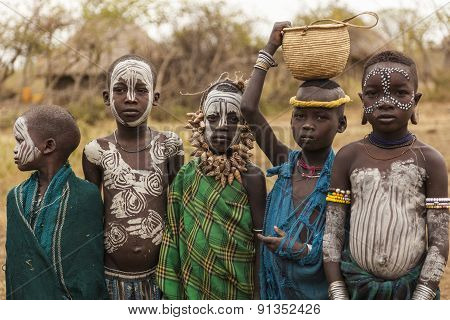 Unidentified Children From Mursi Tribe In Mirobey Village. Mago National Park. Omo Valley. Ethiopia.