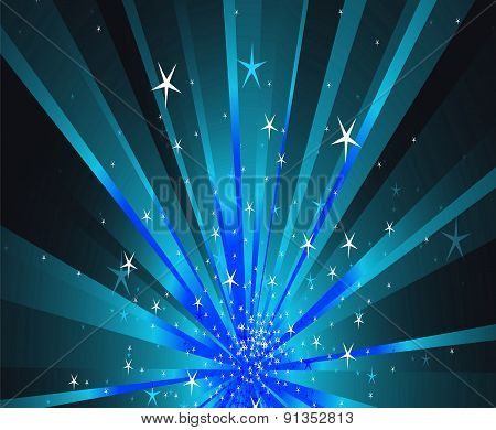 Blue stars rays background