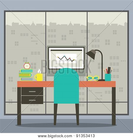 Modern Flat Design Workplace With Skyscraper View.