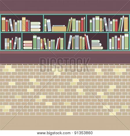 Vintage Style Bookshelf On Brick Wall.