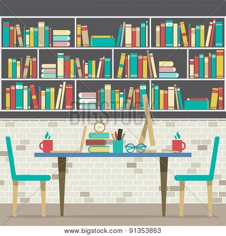 Modern Flat Design Workplace With Bookcase.