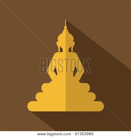 Flat Design Buddha Icon.