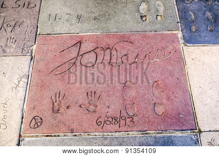 Handprints Of Tom Cruise In Hollywood Boulevard In The Concrete Of Chinese Theatre's Forecourt