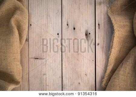 Burlap Wood Background