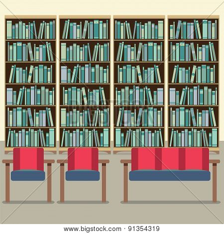 Reading Seats In Front Of A Bookcase.