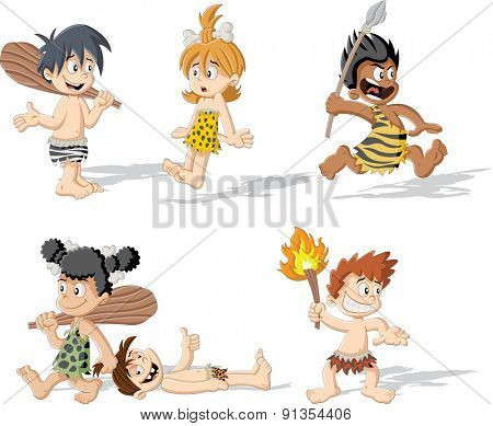 Croup of cartoon caveman children