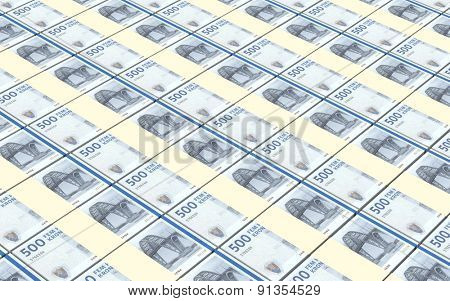 Danish krone bills stacks background.