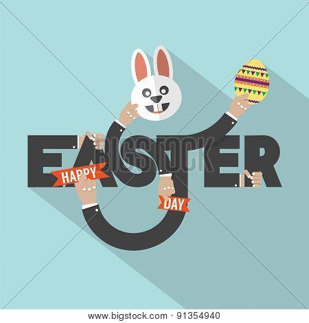 Rabbit, Egg In Hand Easter Typography Design.