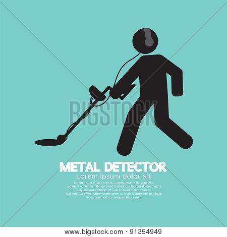 Metal Detector Black Graphic Symbol.