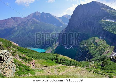 High Alpine Landscape Of The Grinnell Glacier Trail In Glacier National Park, Montana In Summer