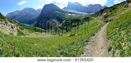 High Alpine Panoramic Landscape Of The Grinnell Glacier Trail In Glacier National Park, Montana