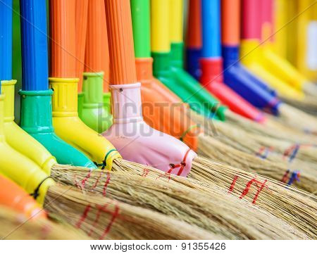 Multi Colors Dry Grass Broom, Hand Made From Nature In Thailand.